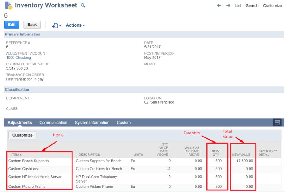 inventory levels worksheet