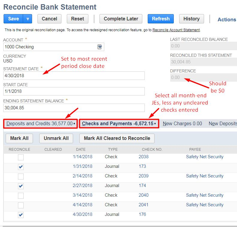 reconcile bank statement