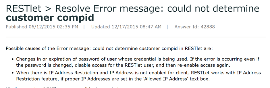 restlet resolve error message - could not resolve customer compid